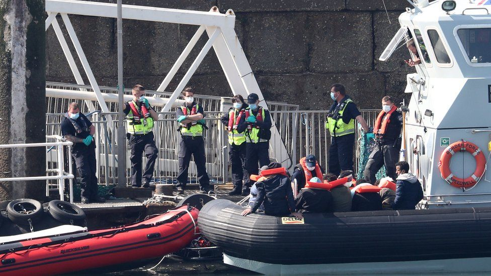 Border Force bringing migrants ashore earlier this month