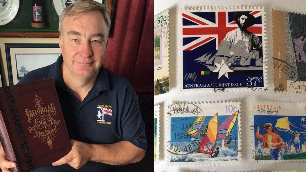 RNLI volunteer Mark Barker and stamps