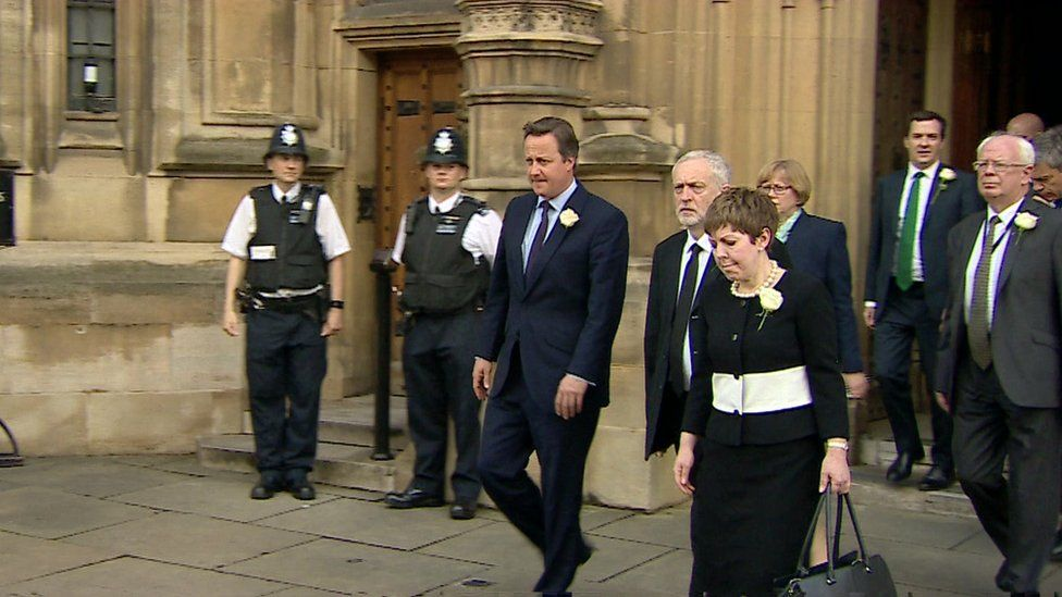 David Cameron, Jeremy Corbyn and MPs and peers make their way to the memorial service