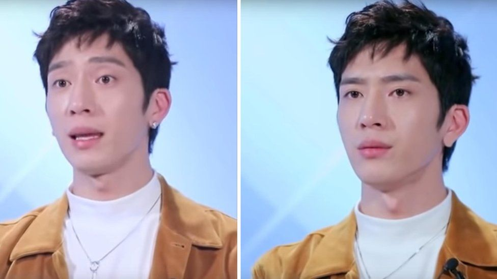 Two photos showing Jing Boran's ears in episodes one and three of TV show I Actor