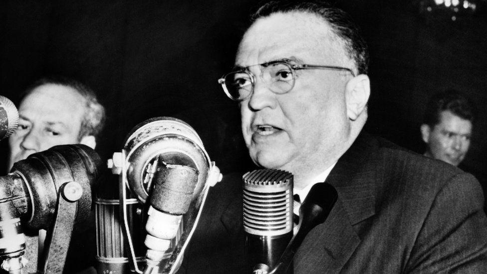 J Edgar Hoover speaks to the senate internal security committee
