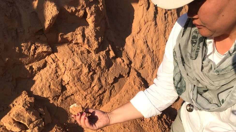 Bolortsetseg holding bone fragment