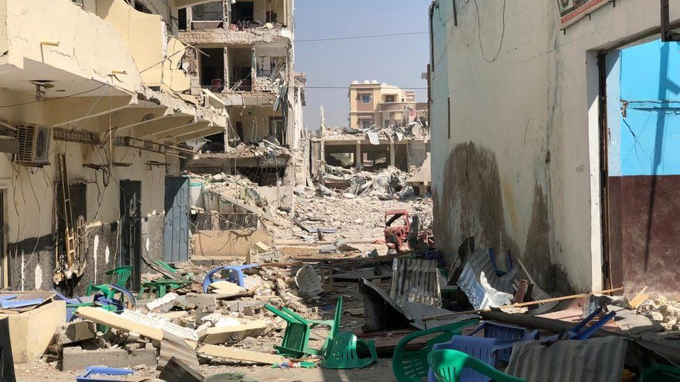 The aftermath of bombing