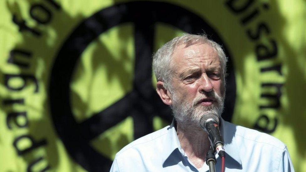 Jeremy Corbyn at a CND rally