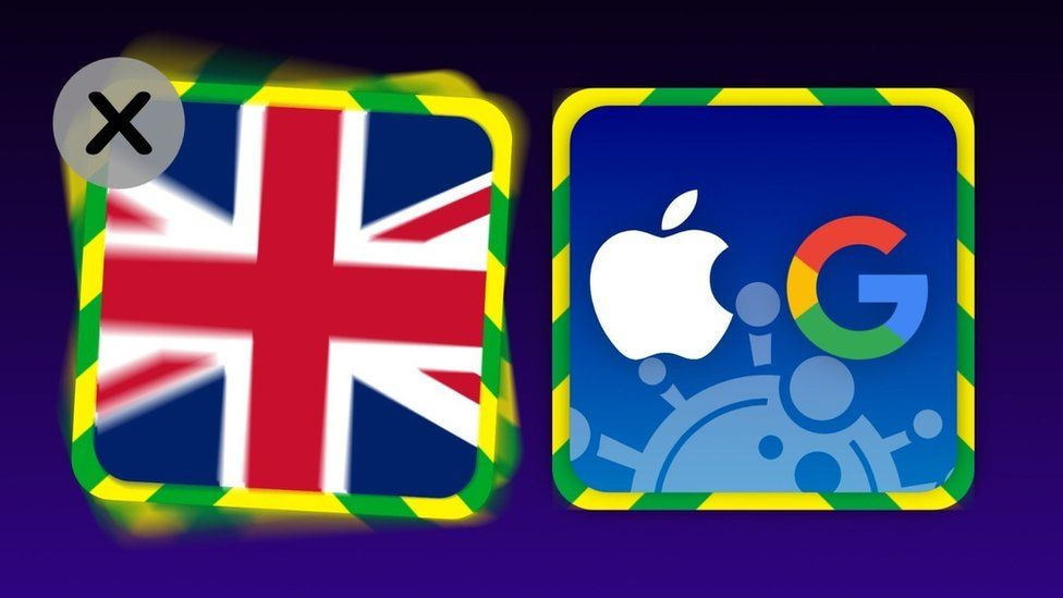 Graphic illustration showing a UK app icon next to an Apple/Google app