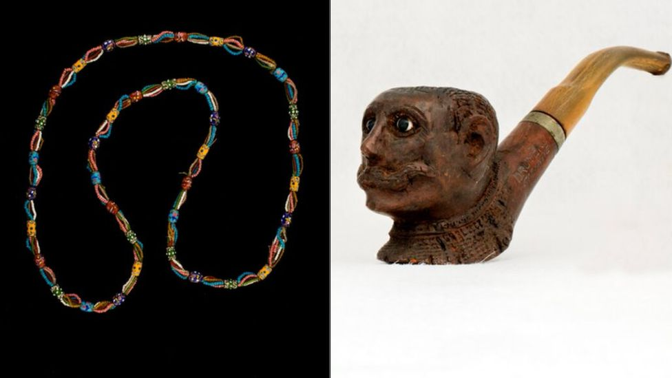 A necklace and a pipe are among the items which were transferred to the museum