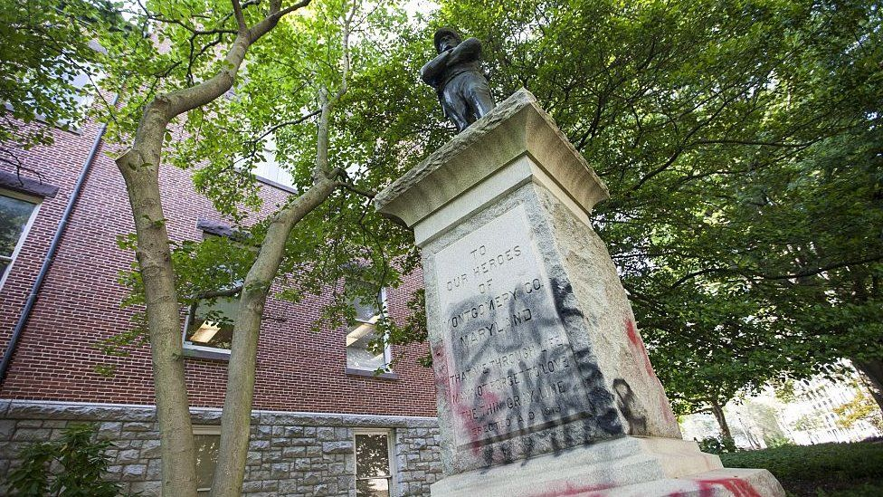 Graffiti on a monument to a Confederate soldier in Maryland