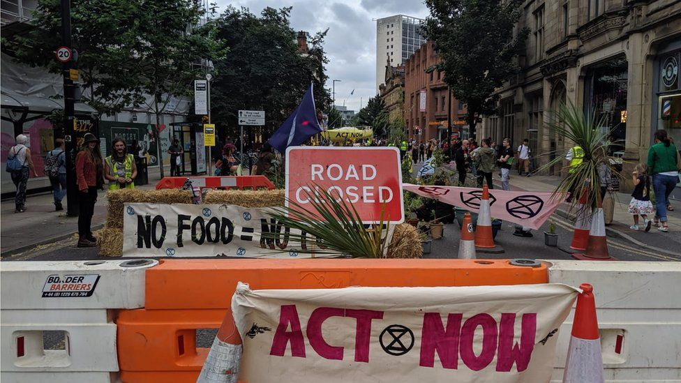 The Extinction Rebellion protest camp in Deansgate, Manchester