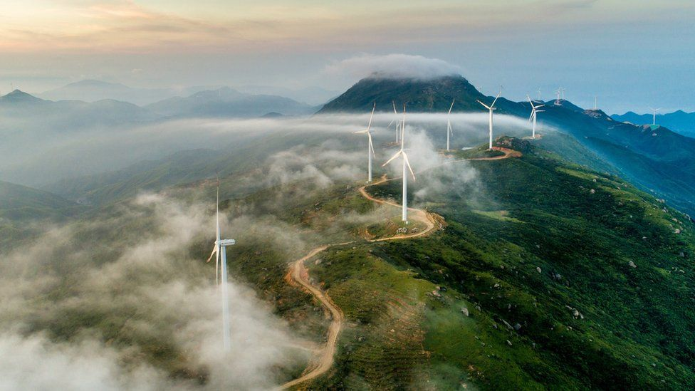 Wind farm on mountain ridge