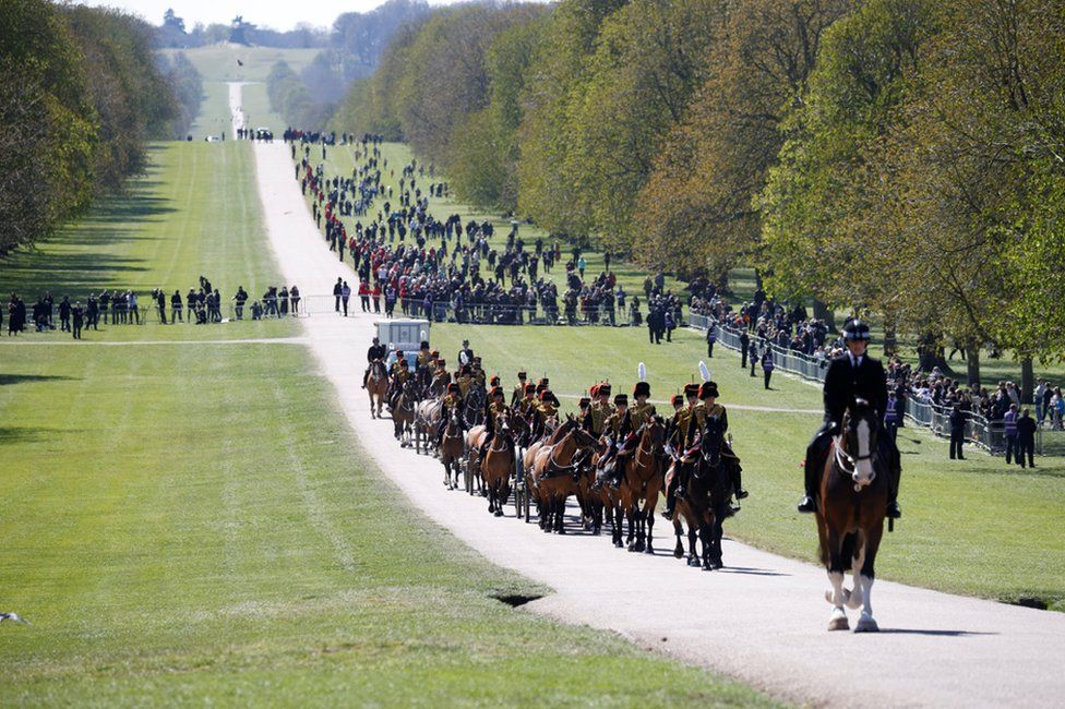 Members of The King's Troop Royal Horse Artillery are pictured on the day of the funeral of Britain's Prince Philip, husband of Queen Elizabeth, who died at the age of 99, in Windsor, near London, Britain April 17, 2021