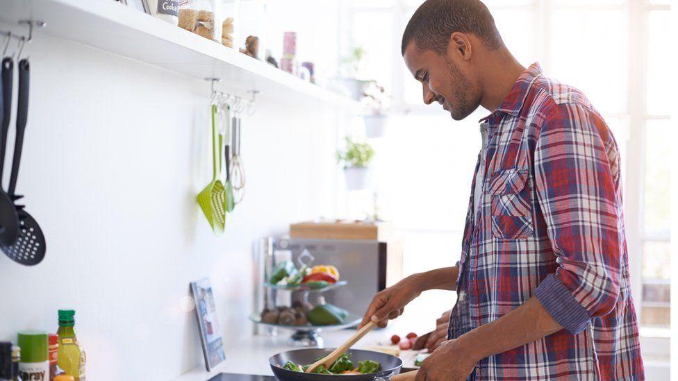 Man making a stir fry