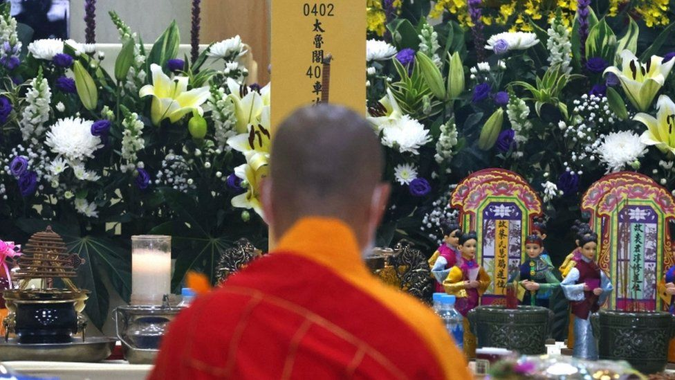 A general view during a prayer event held for victims of the deadly train derailment, at a funeral parlour in Hualien, Taiwan, April 4, 2021.
