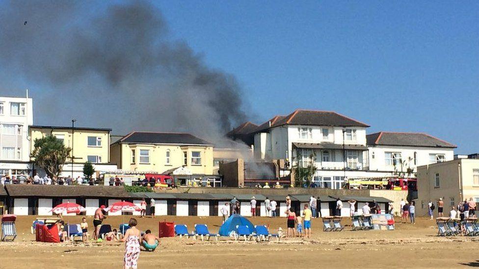 Smoke from burning buildings