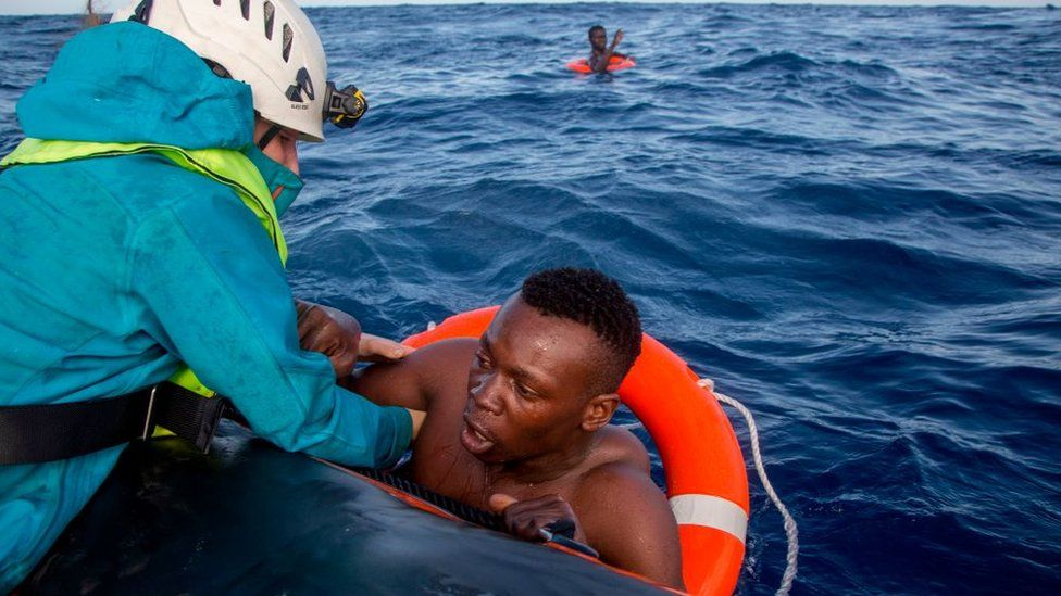 A man is rescued in the Mediterranean by an NGO, November 2017