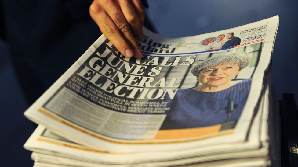 "A newspaper stand shows a copy of today""s Evening Standard, with the front page story relating to British Prime Minister Theresa May""s call for a snap general election."