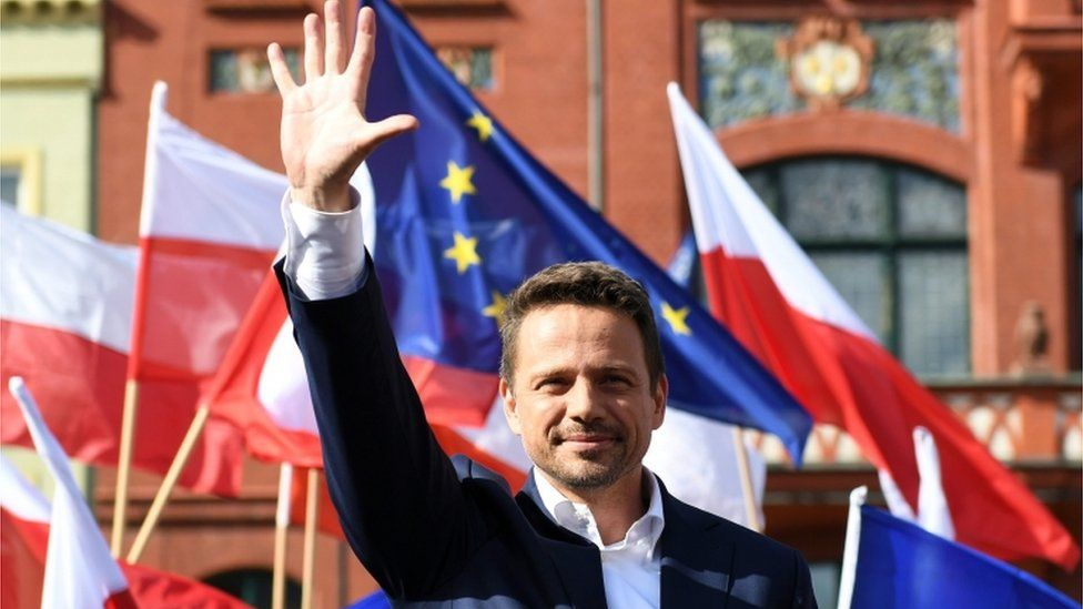 Polish presidential candidate Rafal Trzaskowski campaigning in Chojnice, June 2020
