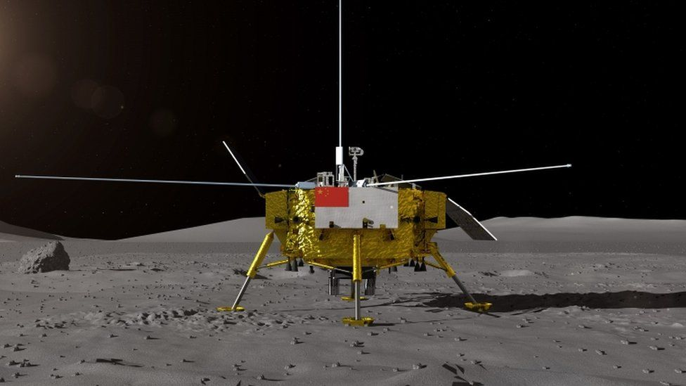 Artist's impression of the moon landing for the Chang'e-4 probe