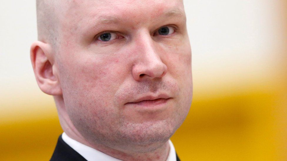 Convicted mass killer Anders Behring Breivik attends the fourth and last day in court in Skien prison, Norway, 18 March 2016