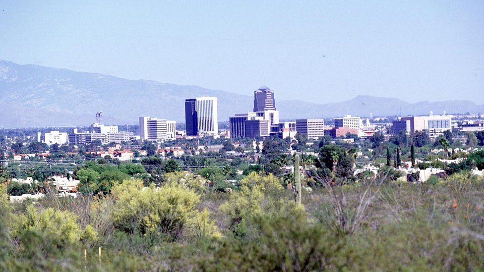 The city skyline of Tuscon, Arizona
