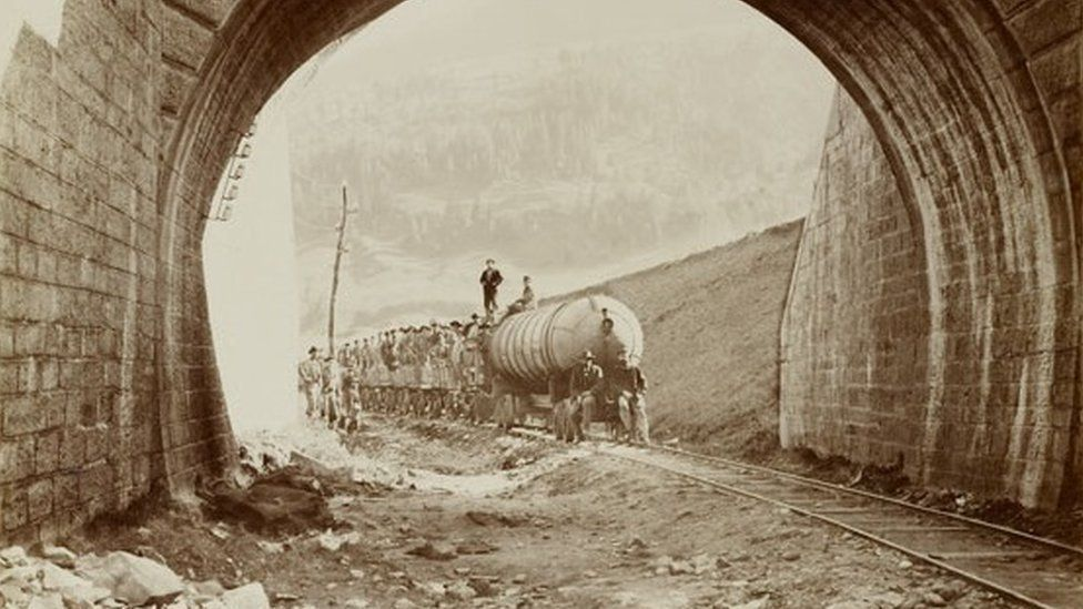 Transport train for tunnel workers on the first Gotthard tunnel in 1881 pic courtesy Canton Uri State Archives/alptransit-portal.ch