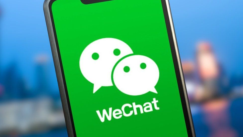 WeChat logo on a smartphone