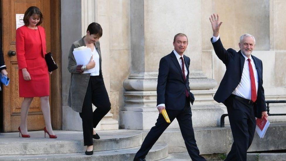 Jeremy Corbyn, Tim Farron, Caroline Lucas, Leanne Wood