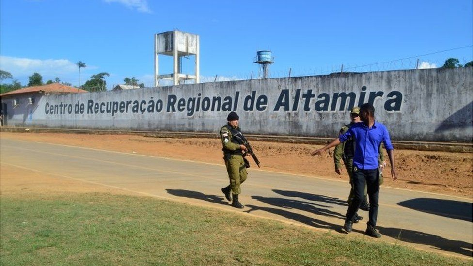 Police patrol in front of a prison after a riot, in the city of Altamira, Brazil, July 29, 2019