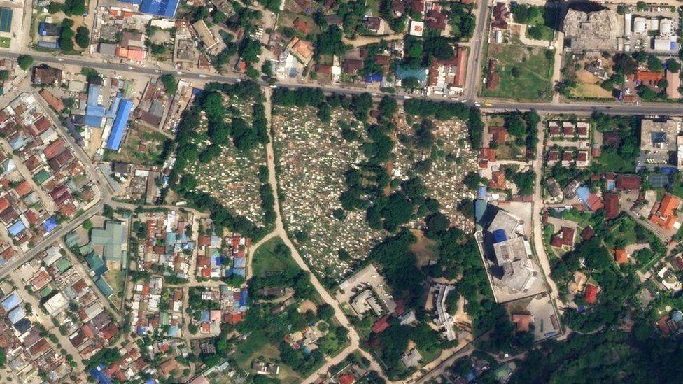 Image satellite du cimetière