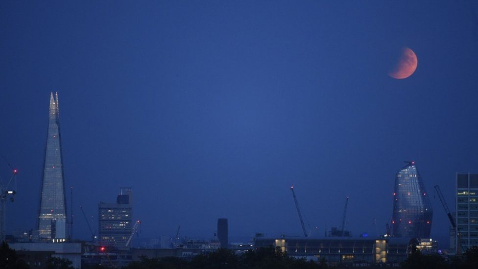 Partial lunar eclipse on 16 July 2019, from London