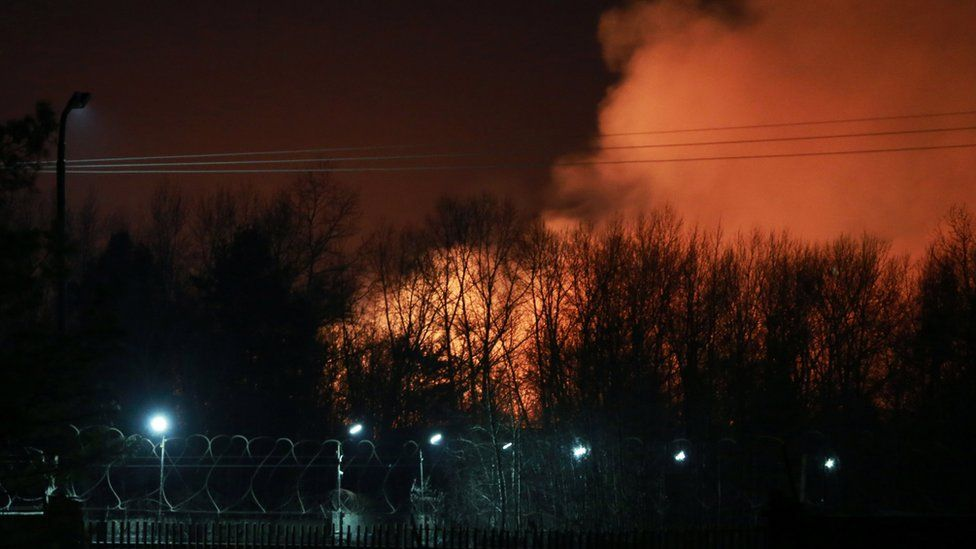 A view shows smoke rising from a fire that broke out at the penal colony after a riot by inmates