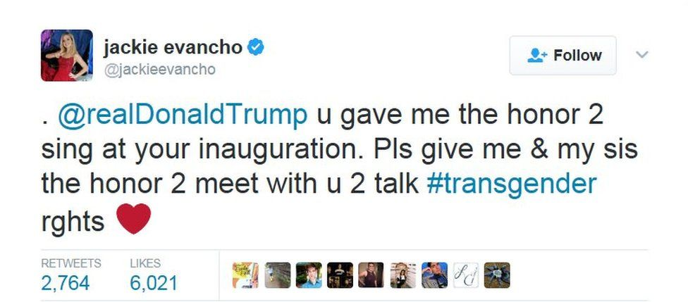 """Twitter post by Jackie Evancho: """"@realDonaldTrump u gave me the honor 2 sing at your inauguration. Pls give me & my sis the honor 2 meet with u 2 talk #transgender rghts"""""""