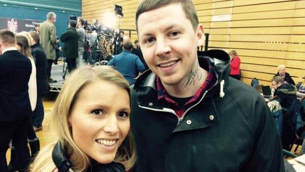 BBC Stoke's Emma Thomas with Pro Green