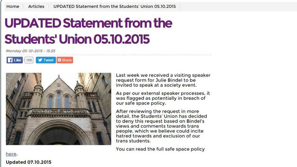 Manchester University website