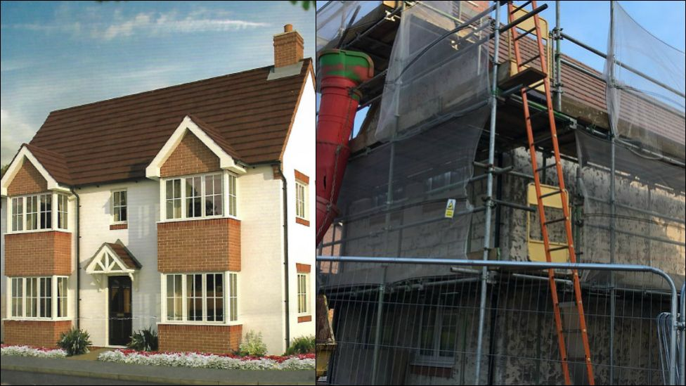 The house as it appears in the Bovis brochure - and how it looks now