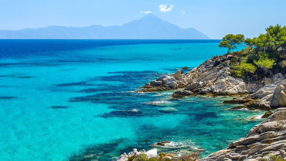 The coastline in Halkidiki, northern Greece.
