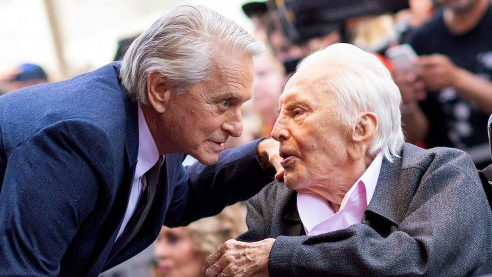 Kirk Douglas (right) and his son actor Michael Douglas. Photo: November 2018