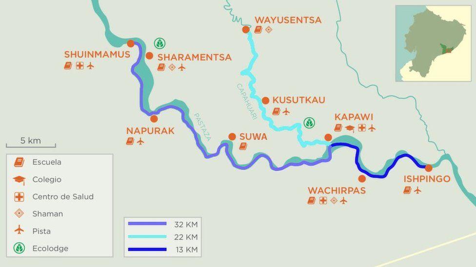 A map of Achuar territory, South East Ecuador