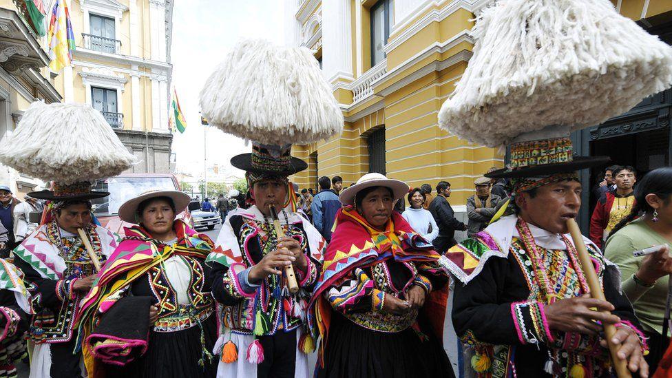 The indigenous Aymara play folk music in La Paz