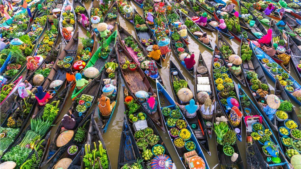A floating boat market in Asia