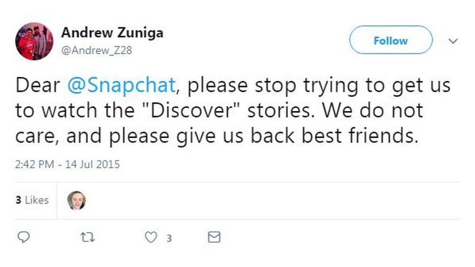"A tweet from Andrew Zuniga asks Snapchat to ""give us back best friends"""