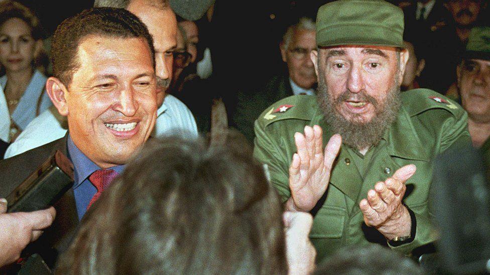 Former Venezuelan president Hugo Chavez and ex-Cuban leader Fidel Castro