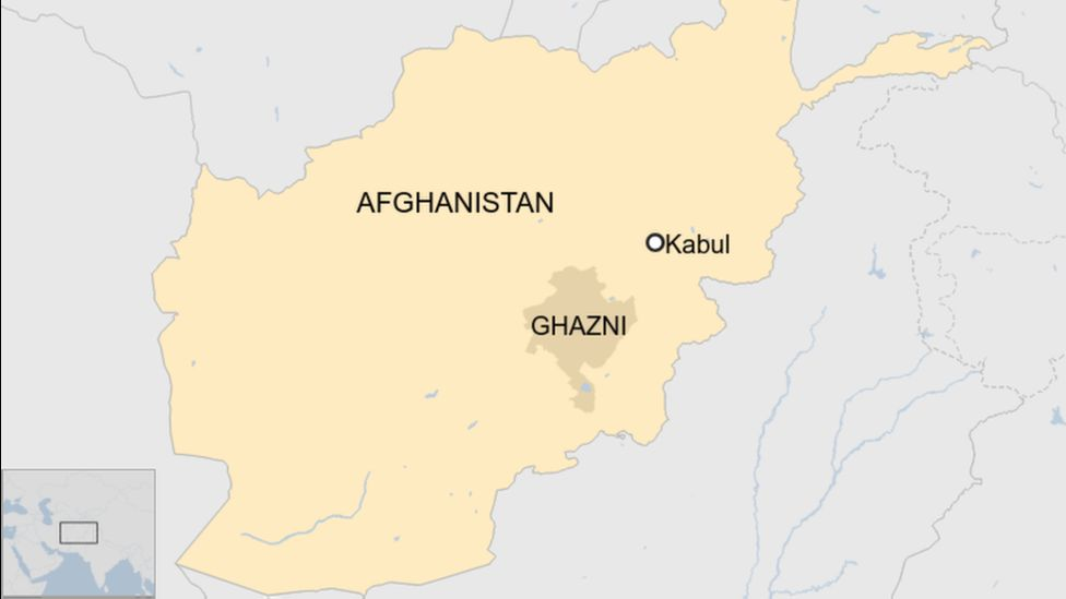 Map showing location of Kabul and Ghazni province