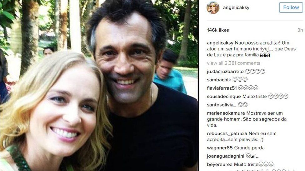 Post by TV presenter Angelica Huck on Instagram saying: I can't believe it - an incredible actor and human being. May God give light and peace to his family.""
