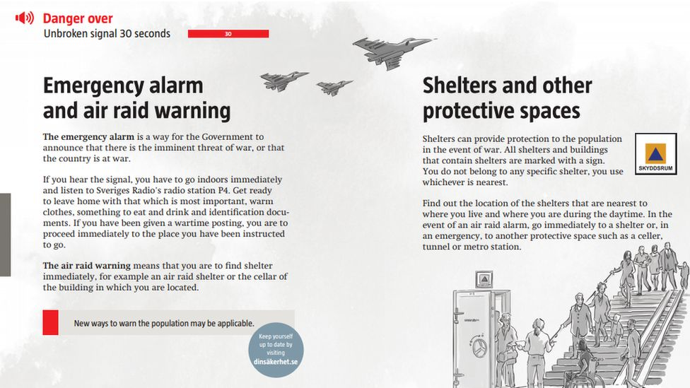 Image shows pages from the leaflet explaining Sweden's air raid warning system and public shelters