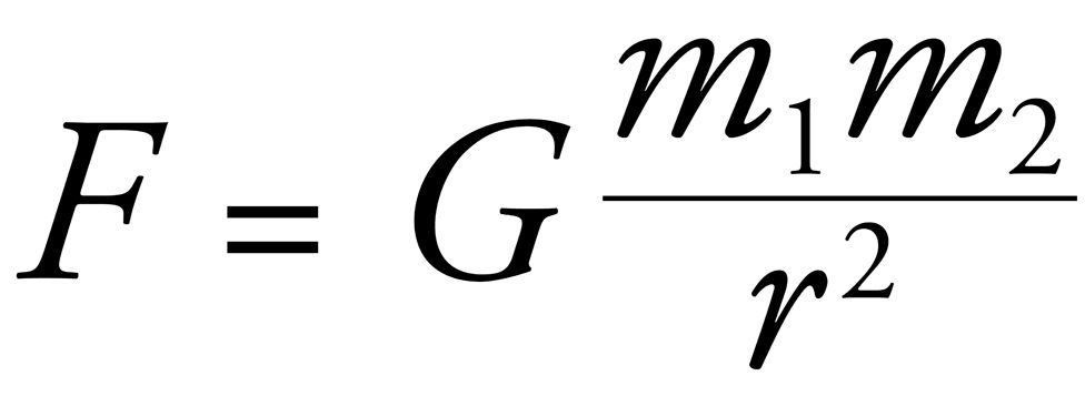 Newton's law of gravitation, expressed as an equation