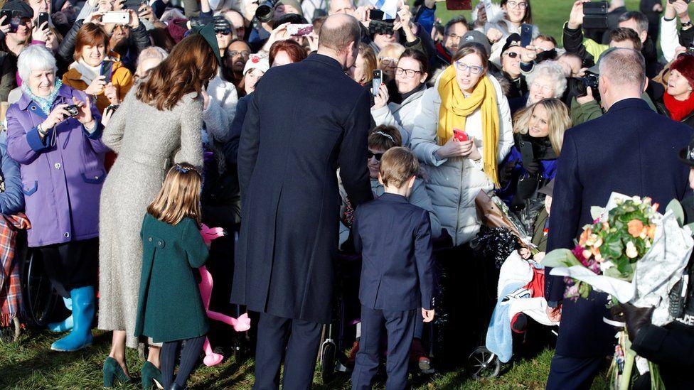 Princess Charlotte and Prince George greet the crowd