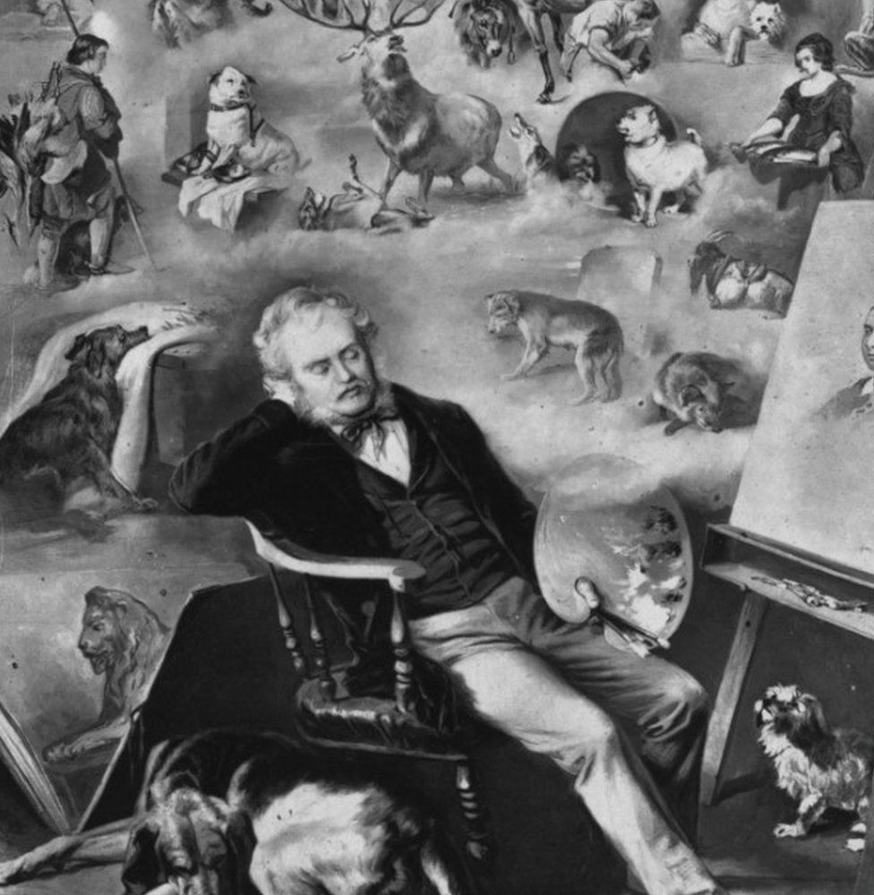 1873: A postcard in remembrance of Sir Edwin Landseer ( 1802 - 1873)