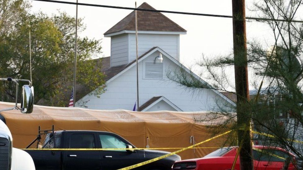 The site of the shooting at the First Baptist Church of Sutherland Springs, Texas (06 November 2017)