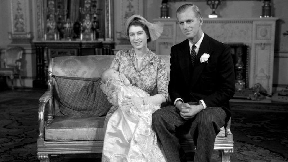 Princess Elizabeth and the Duke of Edinburgh with their daughter Princess Anne (21 October 1950)