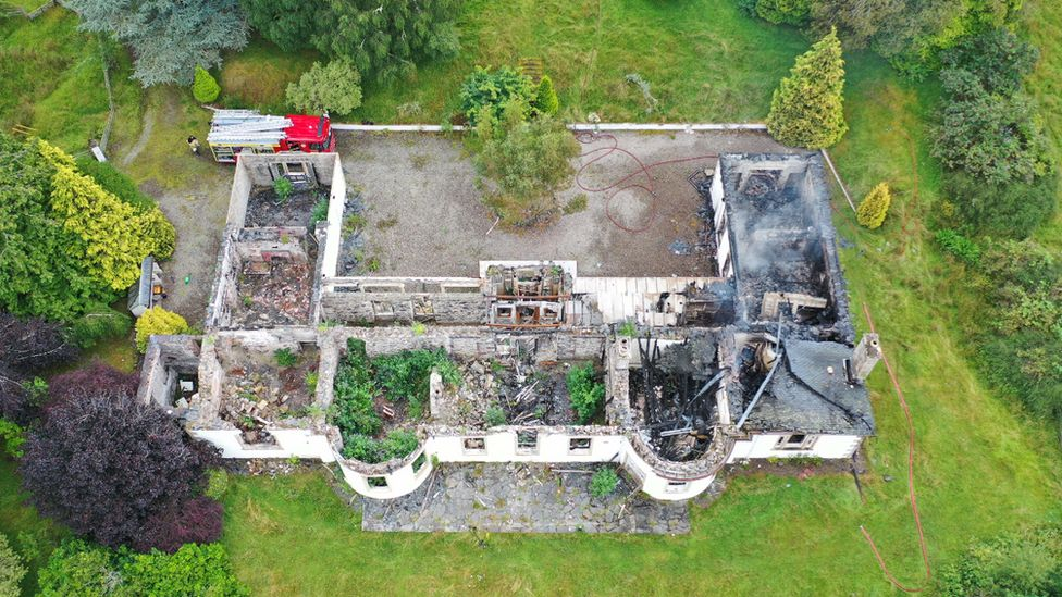 An aerial view of Boleskine House
